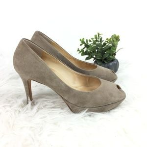 Paul Green shoes pumps velvet taupe high heel 9